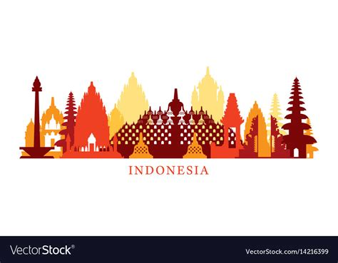 indonesia architecture landmarks skyline shape vector image