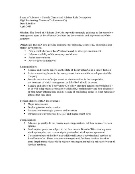 Board Of Advisors Sle Charter And Advisor Role Description Board Roles And Responsibilities Template