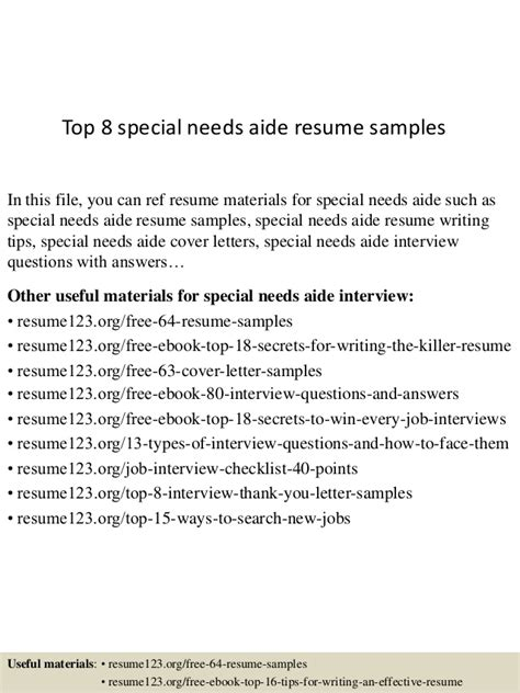 top 8 special needs aide resume sles