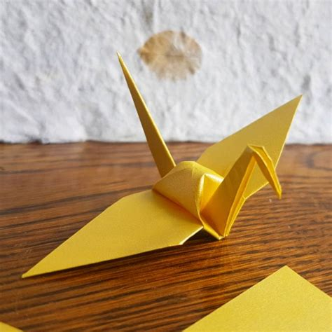 Origami Paper Nz - 10 origami crane gold yellow shimmer felt