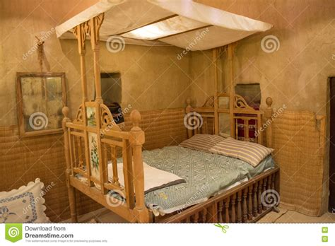 bed in arabic ancient arabian wooden bed in the arabic hut stock image