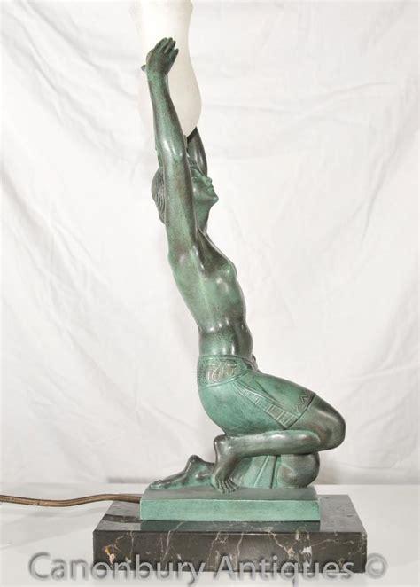 original deco bronze figurine table l signed