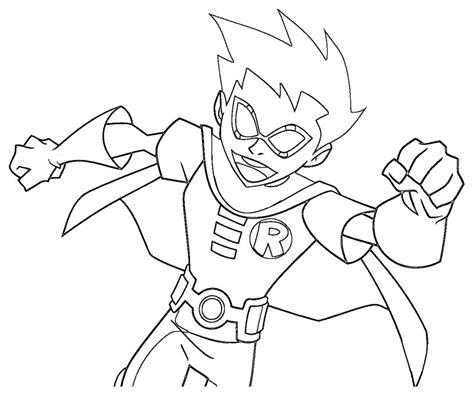 robin printable coloring page free teen titan robin coloring pages