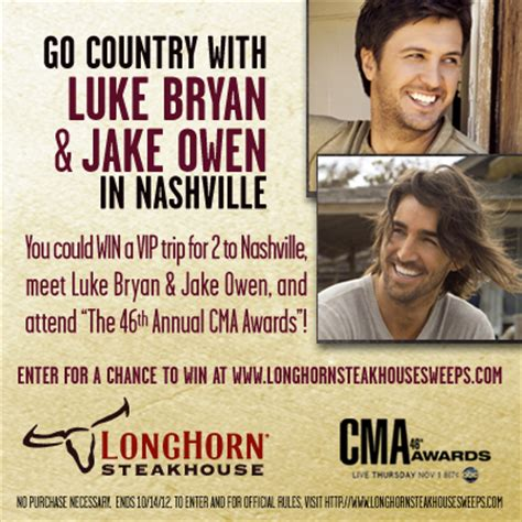 Longhorn Steakhouse Sweepstakes - longhorn steakhouse wants you to go country with luke bryan and jake owen sweepstakes