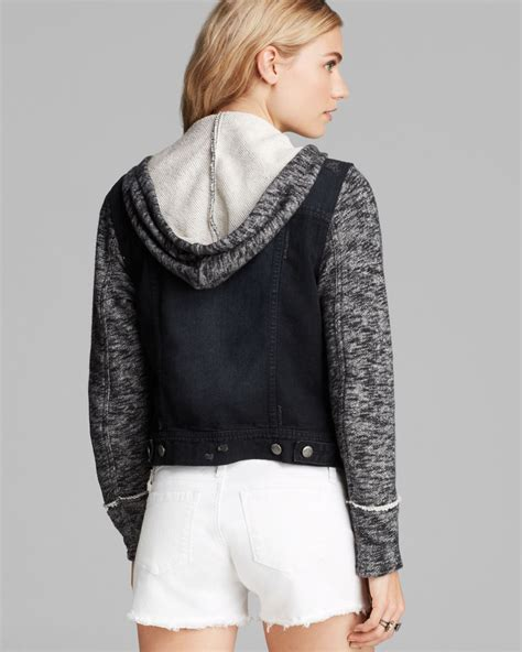 denim and knit jacket free denim and knit hooded jacket in black lyst
