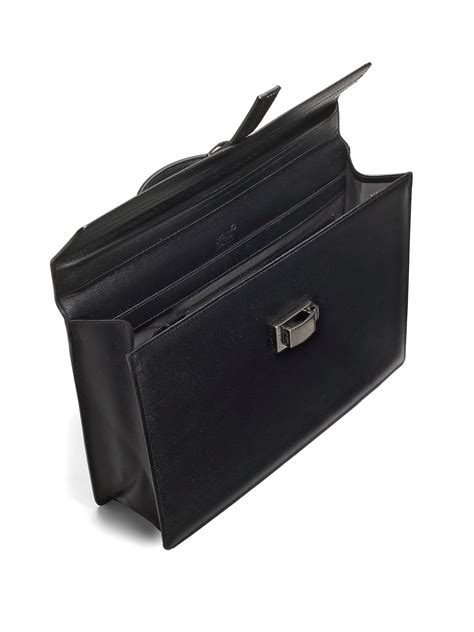montblanc leather business bag in black for lyst