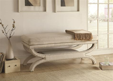 white fabric bench coaster 500004 white fabric bench steal a sofa furniture outlet los angeles ca