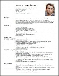 Modelo De Curriculum Vitae Para Vigilante De Seguridad Modelo De Curriculum Vitae De Jefe De Almacen Modelo De