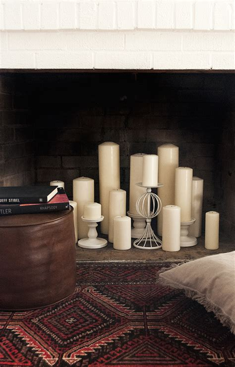faux fireplace with candles how to style your faux fireplace for fall coco kelley