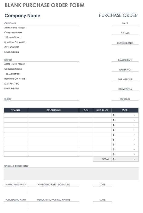 Free Purchase Order Templates Smartsheet Purchase Order Form Template
