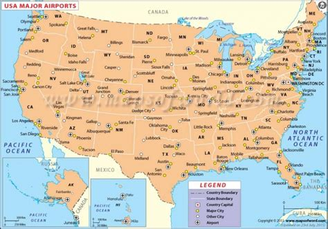 major airports in usa map passenger vehicles in united states of america wikibizpedia