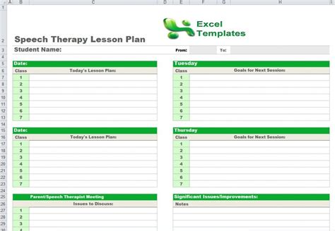 slp lesson plan template speech therapy lesson plan template