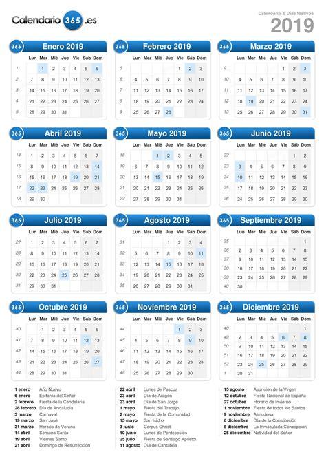 Calendario 2019 Con Festivos Calendario 2019