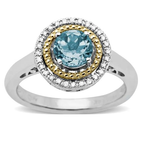aquamarine and accent birthstone ring in sterling