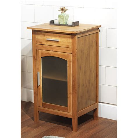 Floor Cabinet With Doors Bamboo Linen Floor Cabinet With Glass Door 23037nat Walmart