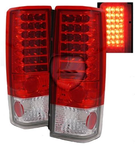 Chevy Astro 1985 2005 Red and Clear LED Tail Lights