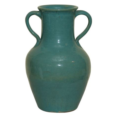 Antique Vases by A Green Pottery Vase Signed Pickfull For Sale