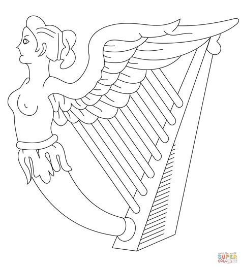 harp of ireland coloring page free printable coloring pages