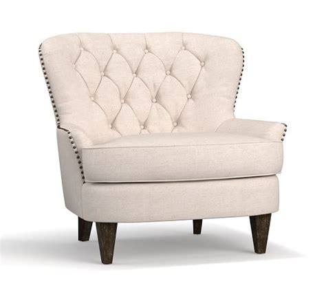 cardiff tufted armchair quick ship cardiff tufted upholstered armchair pottery barn