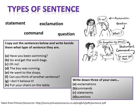 exle of command sentences worksheet spag w parveen