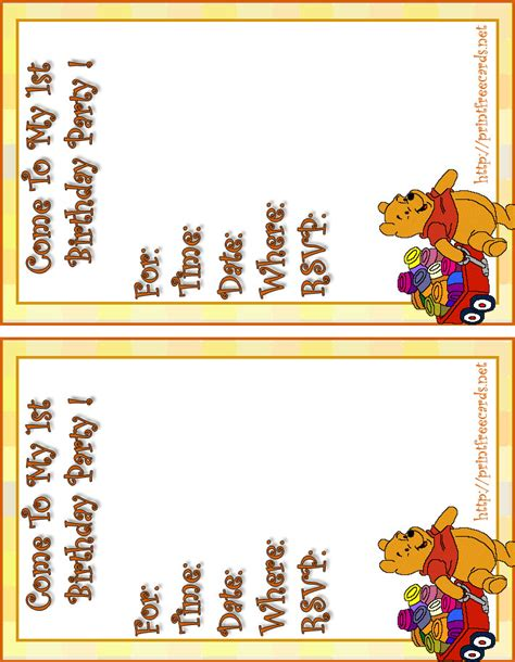 40th Birthday Ideas Winnie The Pooh Birthday Invitation Templates Free Birthday Invitation Card Template
