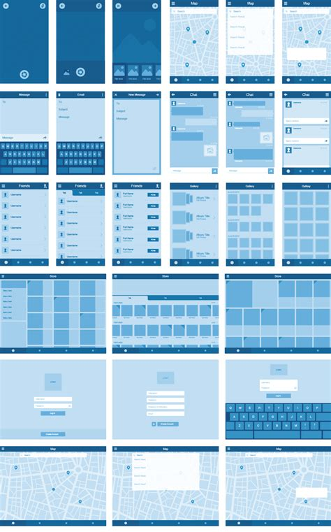 Grid Layout Ux | wireframe kit over 70 templates and 300 ui elements for