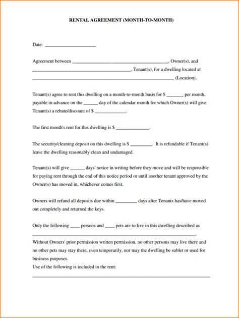 printable rental agreement 8 simple rental agreement form printable receipt