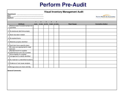 Jsu Mba Audit Sheet by Perform Pre Audit Visual Inventory Management