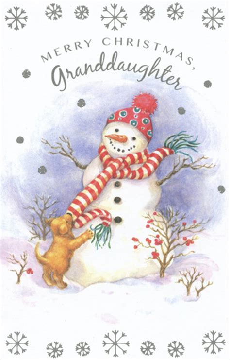 My Snowman Fiancee snowman puppy granddaughter card by freedom