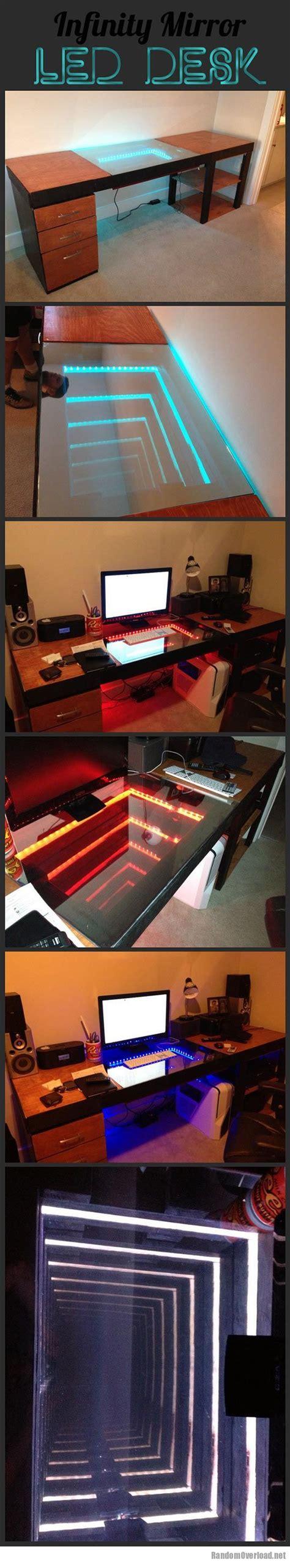 infinity mirror computer desk infinity mirror desk randomoverload