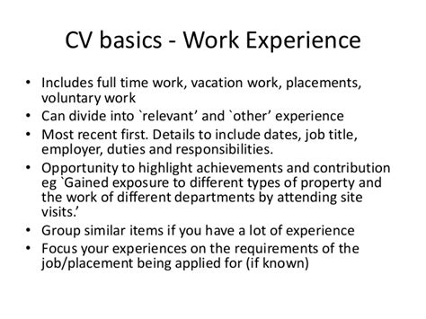 cvs for work experience in property