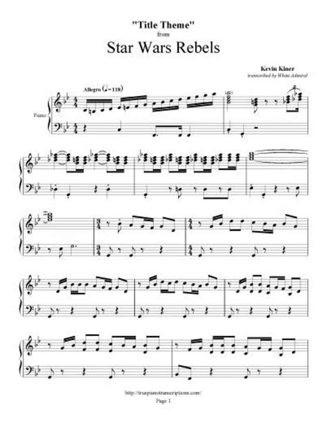 theme music to star wars star wars rebels title theme kevin kiner piano