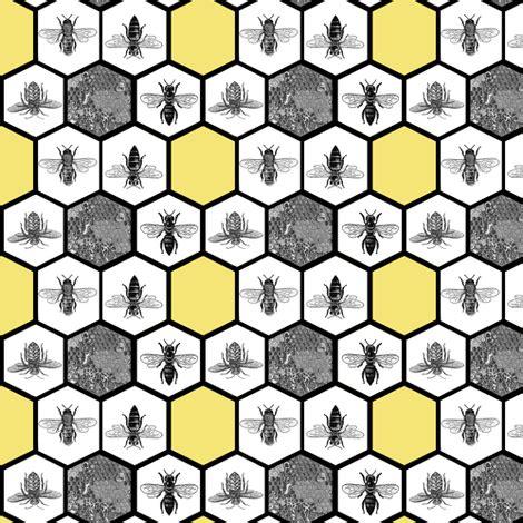 honeycomb & honey bees, beehive, black & yellow hexagon