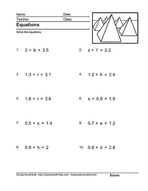 Pre Algebra Worksheets Pdf by 6th Grade Algebraic Equations Worksheets Tessshebaylo