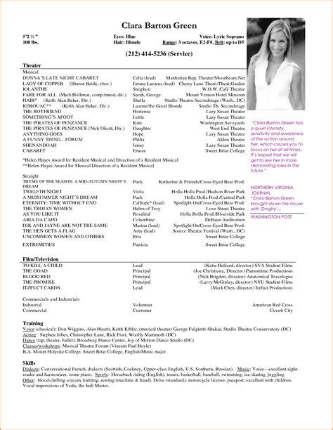 performer resume template resume actor sle resume ideas