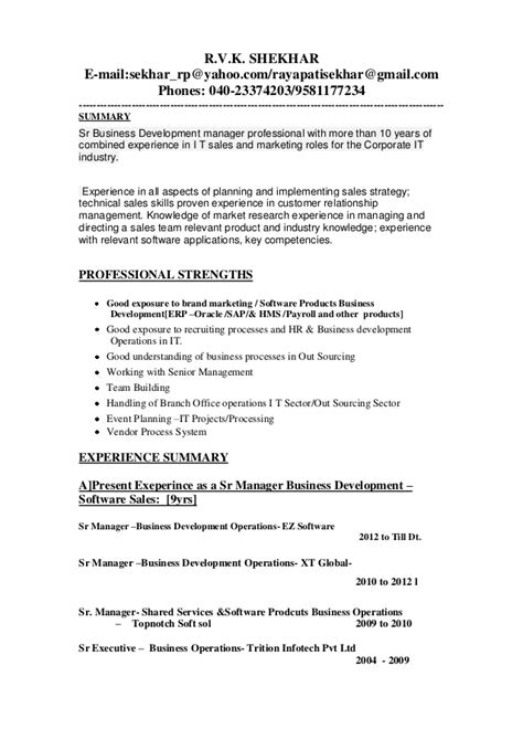 Resume Sles Business Development Manager Updated Business Development Manager Resume 1