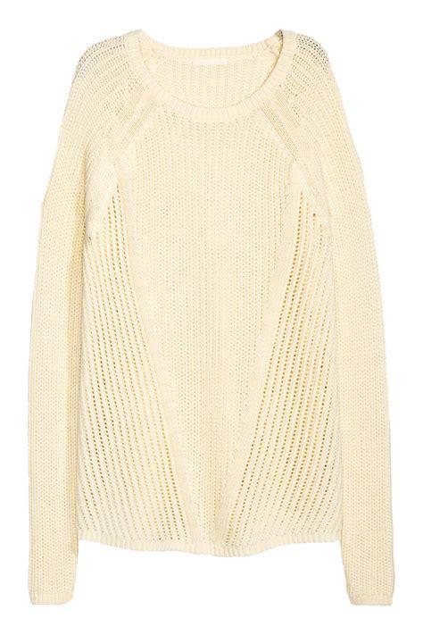 white pattern knit sweater pattern knit sweater natural white sale h m us