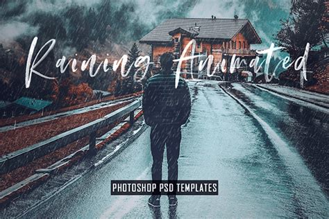 photoshop animation templates animated raining photoshop psd template actions