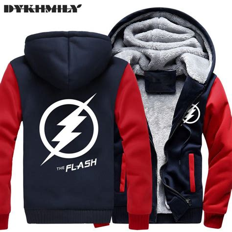 Sweater Hoodie Zipper Flash new winter jackets coats the flash hoodie anime justice league hooded thick zipper superman