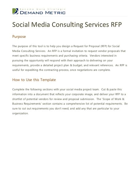 social media rfp template social media consulting services rfp