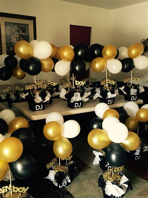 gold event themes black and gold babyshower centerpieces black and white