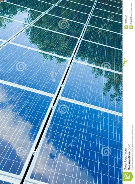 solar panels with green reflection royalty free stock