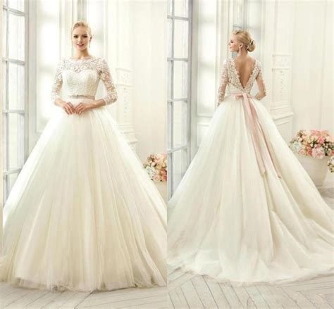2016 New Sheer 3/4 Long Sleeves A Line Wedding Dresses