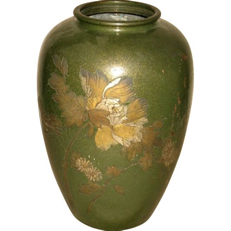 Large Oriental Vase Vintage Japanese Mixed Metal Vase From Dynastycollections