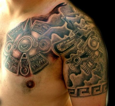 chest and shoulder tattoo aztec on chest and left shoulder