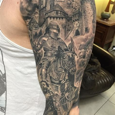 knight times tattoo sleeve by marshall 3rdeye1 jpg 1080 215 1080
