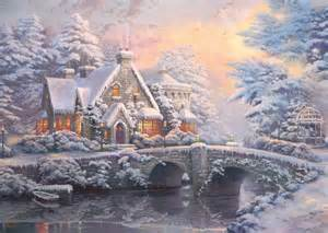 Rosemary Barnes 2 Puzzles Thomas Kinkade Winter In Lamplight Manour