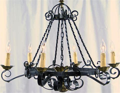 kronleuchter schmiedeeisen vintage mission chandelier wrought iron brass tone