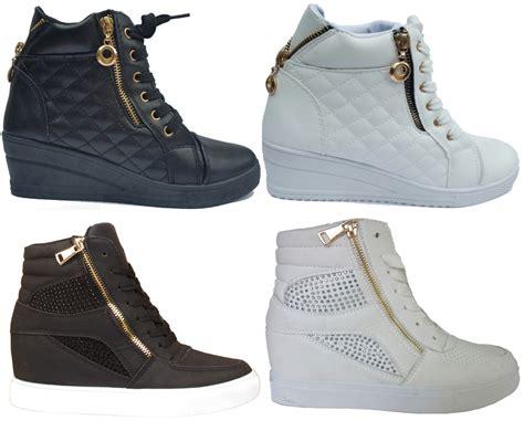 High Top Platform Sneakers womens wedge trainers mid heel platform sneakers