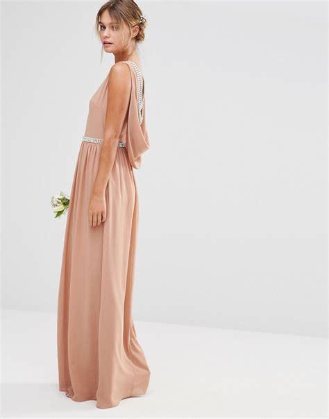 draped maxi dress draped back maxi bridesmaid dress chic vintage brides